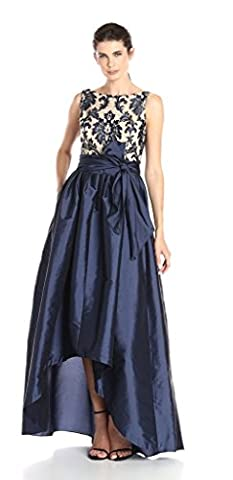 Adrianna Papell Women's High Low Taffeta Ball Gown with Embroidered Lace Bodice, Navy/Nude, 4
