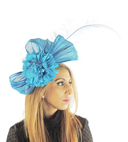 Hats By Cressida Silk Sinamay & Silk Flower Elegant Ladies Ascot Wedding Fascinator Turquoise by Hats By Cressida