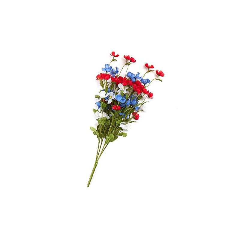 silk flower arrangements factory direct craft red, white and blue soft poly silk cosmos floral bush | for indoor decor