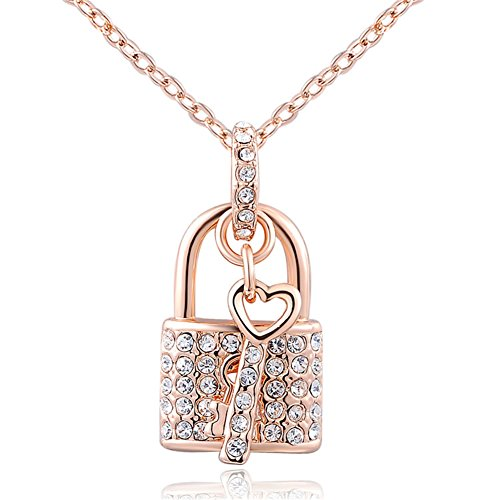 Fashion Rose Gold Plated Austrian Crystal Padlock Pendant Necklace. The Open Your Heart ()