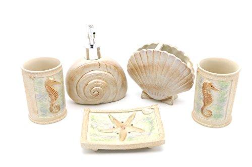 Hot San Resin 5 Pieces Bathroom Accessory Set - Ocean Seashell And Seahorse Design ,Bathroom Vanities,Home (Seashell Bath Accessories)