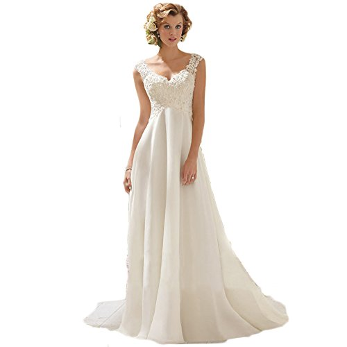Chupeng Romantic Beach Wedding Dress A-Line Empire-Waist Maternity Gown Plus Size (Ivory Lace Empire Waist Dress)