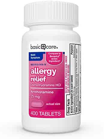 Amazon Basic Care Allergy Relief Diphenhydramine Hcl Tablets  400Count