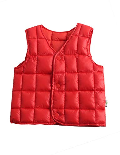 Warm Gilet Down Red Casual Cotton Lightweight fit Waistcoat Vest Child for Boys Slim Sleeveless Outwear BESBOMIG Girls Jacket xTSwEc