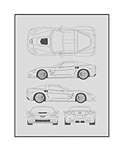 Chevrolet Corvette Blueprint Print Car Wall