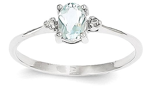ICE CARATS 14k White Gold Diamond Blue Aquamarine Birthstone Band Ring Size 6.00 March Oval Style Fine Jewelry Gift Set For Women Heart by ICE CARATS (Image #1)