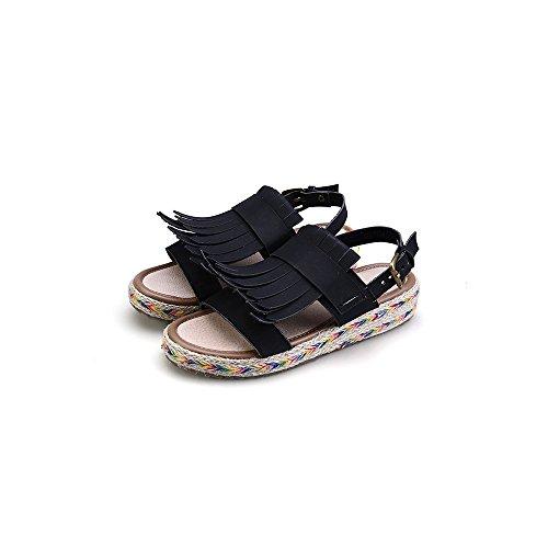 Zapatos Sandalias Mujer Piel sintetica Plano tacon Parte delantera abierta  zapato Negro