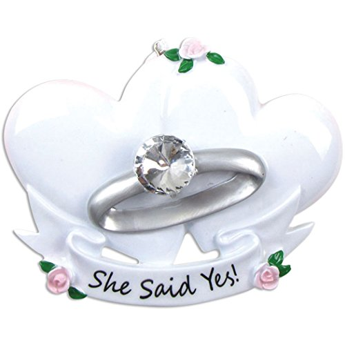 Personalized Engagement Ring Christmas Tree Ornament 2019 - Sparkle Diamond White Heart She Said YES Flowers Marry Me Propose Romantic Couple 1st Got The Milestone Gift Year - Free Customization