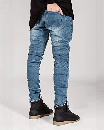 Uomo Hellblau Pantaloni Fit Denim Abbigliamento Motociclista Da Taglio Strappati Slim Casual Destrutturato Jeans Con 1w5qROSw