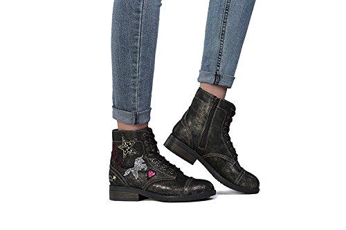 1 's negro US Shining Botas Women Shining 's Fashion Side Anti Black Girl M Casual Zipper Skid Little APELPES Botas Hip Shoes Tenis Kid Hop UgxwEaq