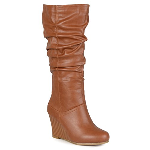 Journee Collection Womens Regular Sized and Wide-Calf Slouch Knee-High Wedge Dress Boots Chestnut, 10 Regular US