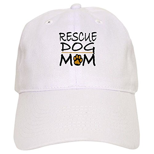 - CafePress Rescue Dog Mom Cap Baseball Cap with Adjustable Closure, Unique Printed Baseball Hat White