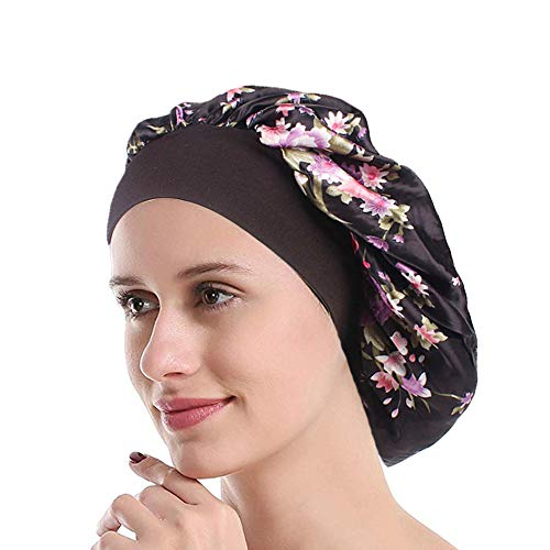 Funcl Womens Sleep Night Cap Wide Band Satin Bonnet for Hair Beauty,Hair Care Cap,Chemo Beanie,Curly Springy Hair ()