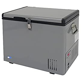 "Whynter FM-45G 45 Quart Portable Refrigerator AC 110V/ DC 12V True Freezer for Car, Home, Camping, RV -8°F to 50°F, One Size, Gray 7 45 Quarts or 60 Cans (12FL oz) capacity; Adjustable temperature range: -8°F to 50°F; LED temperature display; ""Fast Freeze"" mode rapidly cools to -8°F Car, RV and home use; Operates as a refrigerator or freezer; work with 12/24V DC and 110V AC power; Voltage power AC (115V/ 60Hz - 65W/ 0.75A) or DC (12V/24V - 4.5A /2.5A Car Lighter Socket); unit can be plugged in with both AC power and the DC power at the same time. If both AC and DC are plugged in at the same time, then the unit will primarily operate on AC. If the AC power source fails, DC will become primary power supply source. 8-feet AC power cord and 10-feet DC power cord; Two removable wire baskets; Insulated lid and walls; ETL approved"
