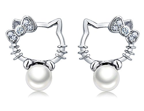 S925 Sterling Silver Lovely Hello Kitty Platinum-Plated Pearl Stud Earrings (Cute Homemade Ladybug Costumes)