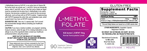 Save $$$ MD Live 5-MTHF L-Methylfolate 15MG Professional Strength Active Folate 90 Capsules by MD Life (Image #2)