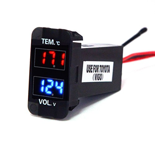Cllena Toyota Digital Voltmeter Temperature Gauge 2 in 1 Voltage Temp Meter Red Blue LED Dual Display(1.580.87inch)