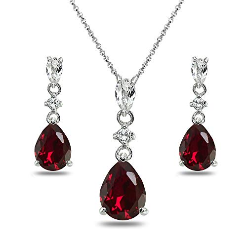 Sterling Silver Created Ruby & White Topaz Pear-Cut Teardrop Dangling Stud Earrings & Necklace Set