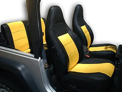 Jeep Wrangler 1997 2002 Black/Yellow Artificial Leather Custom Fit Front  And Rear Seat