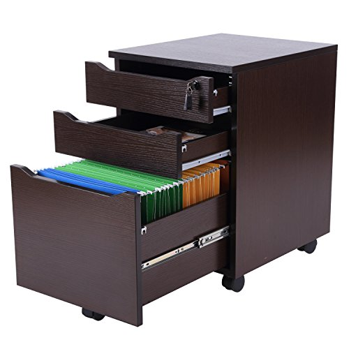 Decho 3 Drawer Wood Mobile File Cabinet Fully Assembled Except Casters,Letter Size/A4,Walnut