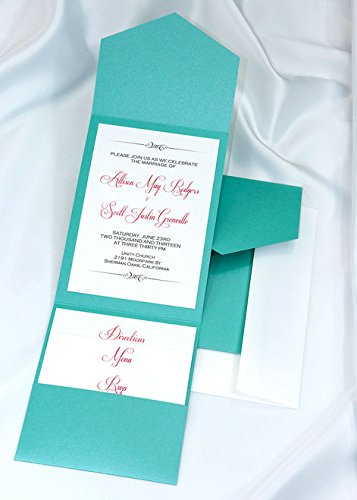 All-in-One Pocket Invitation Kit - Tiffany Lagoon Elegance - Pack of 20