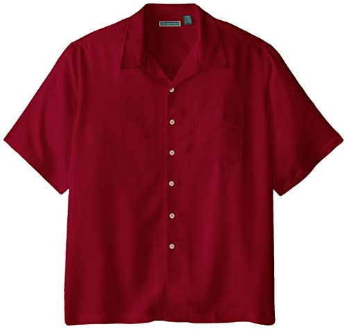 Cubavera Men's Big-Tall Bedford Cord Short Sleeve Woven Shirt, Biking Red, X-Large/Tall (Rayon Camp Shirt)