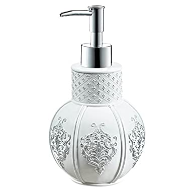 Creative Scents Vintage Lotion Dispenser, 4.25-Inch by 4.25-Inch 7.75-Inch, White/Silver