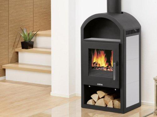 Justus Vegas 8257 22 Kaminofen mit Speckstein-Keramik / grau & schwarz / 6kW Leistung / Dauerbrandofen
