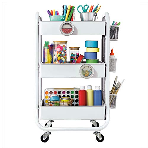 DESIGNA 3-Tier Metal Rolling Utility Cart with Handle, Craft Art Carts & Extra Office Storage Accessories White (Metal Rolling White Cart)