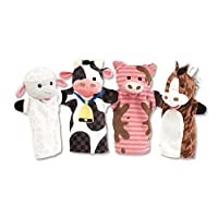 Melissa & Doug Farm Friends Hand Puppets (Set of 4) - Cow, Horse, Sheep, and ...