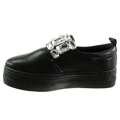 4 Noir Angkorly Talon Plateforme Diamant Brillant Mode Chaussure Strass Femme Cm Bijoux Plat Baskets qPBHwUq4