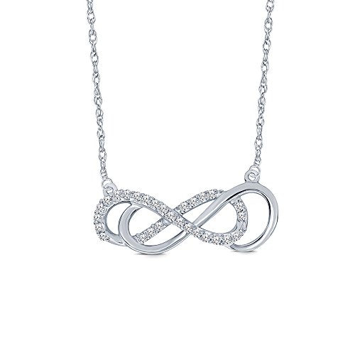 (La Joya 925 Sterling Silver 1/4ct Round White Natural Diamond Double Infinity Pendant Diamond Necklace for Women Teens )