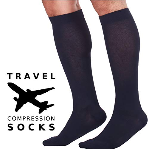 Best Compression Socks for Travel, Flights, Tours for Men - Alleviate Edema and Swelling - Ultra-Soft Microfiber 15-20 mmHg Compression - Made in The USA Compression Socks (Navy, X-Large)