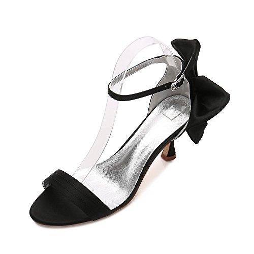 Satin Chaussures Talons Soir Soirée Mariée Bal Le Mariage Noir En Zxstz Femmes De Dieux Pour De wTXqq1