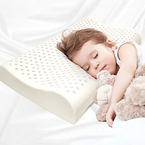 TOPY Natural Latex Toddler Pillow with Washable Cotton Pillowcase, Soft Organic Breathable Baby Pillow, Protection Neck…
