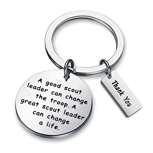 AKTAP Scout Leader Gift Scout Troop Leader Key Chain A Good Scout Leader Can Change The Troop A Great Scout Leader Can Change A Life Scout Leader Master Thank You Gifts (Scout Troop Leader Keychain)