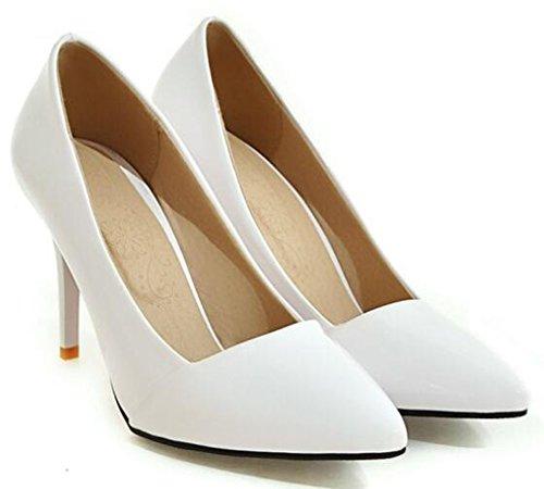 Idifu Donna Elegante Slip Alto Slip On Tacchi A Spillo Alti A Punta Scarpe Da Sposa Bianche