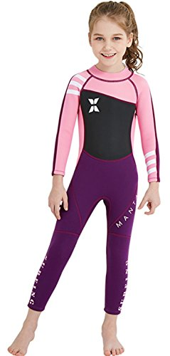 Back Zip Suit (DIVE&SAIL One Piece Swimsuit for Kids Girls Long Sleeve Summer Full Body Production Diving Suit Back Zip Surfing Suit Pink)