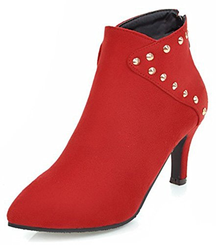 Elegant Rivets Pointed Faux Stiletto Short Toe Women's Mid Booties Ankle Easemax Suede Red 5XqwaxU