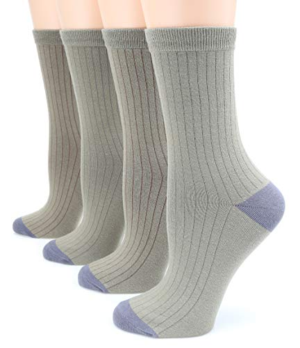 (MIRMARU Women's 4 Pairs Solid Color Lightweight Ribbed knitted Soft Cotton Casual Crew Socks (TWO TONE-OLIVE))