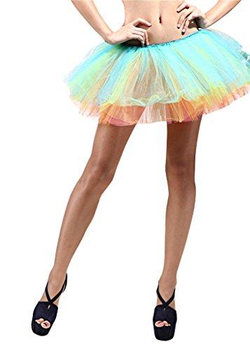 5 Layer Running Skirt, Dance Tutu, Dress Up, Fun Run 5K, Warrior Dash, Color Run (Rainbow)]()