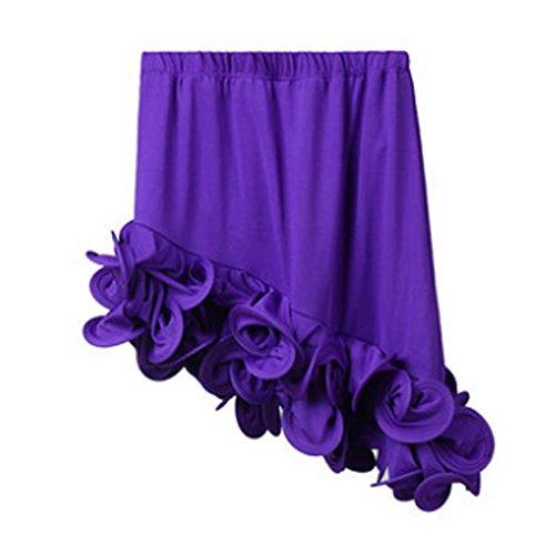 [Purple] Little Girls Latin Dance Skirt Soft Practice Dress Flexible Skirt Gift by Panda Superstore