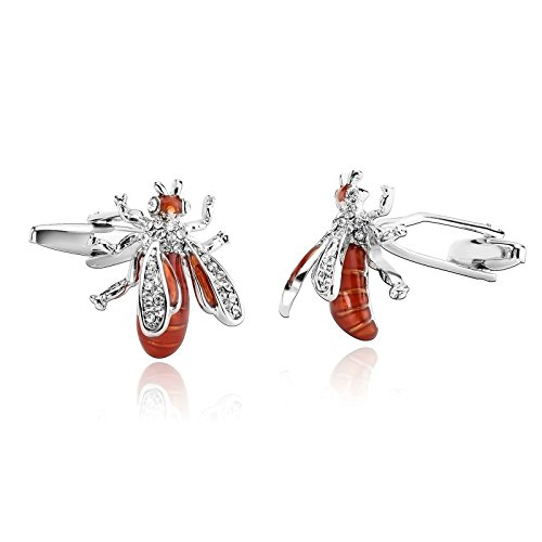 ANAZOZ Stainless Steel Cufflinks for Men Shirt Cufflinks Wedding Silver Orange Crystal Bee 1.1x2CM