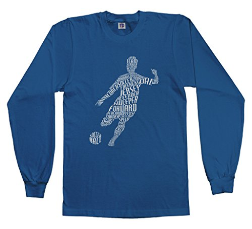 Threadrock Big Boys' Soccer Player Typography Youth L/S T-Shirt XS Royal Blue (Royal Blue Youth Players T-shirt)