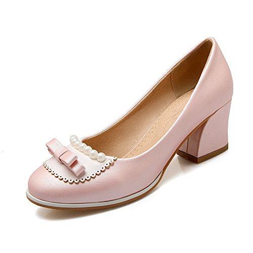 AllhqFashion Damen PU Mittler Absatz Spitz Zehe Rein Ziehen auf Pumps Schuhe, Pink, 33