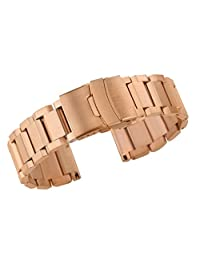 20mm Premium Safety Clasp Watch Band Metal Replacements Solid Stainless Steel in Rose Gold Heavy Type