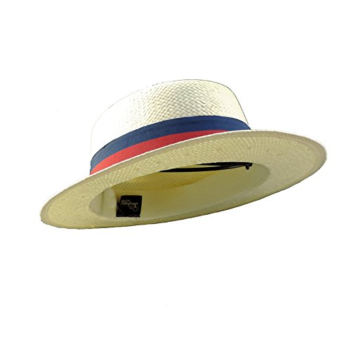 Woven Toyo Skimmer Gambler Style Hat with Red & Blue - Straw Hat Gambler Red
