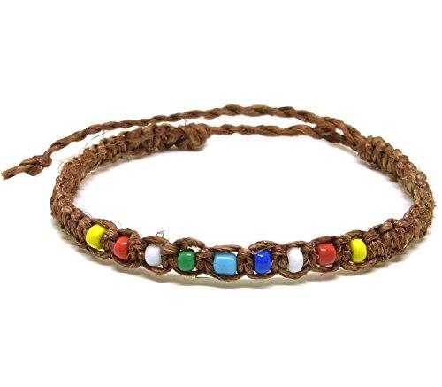 Muay-Thai-Buddha-Fashion-Style-Brown-Hemp-Mix-Plastic-Bead-Rope-Wristband-Bracelet-Thailand