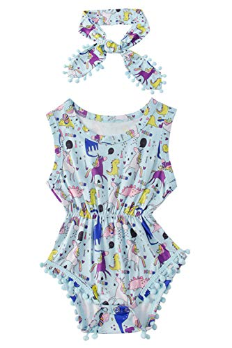Infant Baby Girl Tank Bodysuit Size 110 Trendy Blue Coveralls Romper Floral Tassel Stylish 3D Printed Dinosaur Pom Pom Two Piece Sunsuit with Head Band Little Kids Toddler Lovely Top Playsuit Set - Newborn Printed Coverall