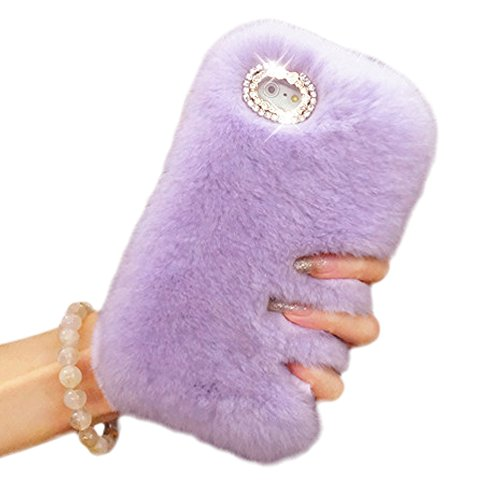 iPhone 6 6s Case,Vandot Slim Fit Premium Bling Crystal Diamond Warm Fluffy Rex Rabbit Fur Case Winter Handmade Soft Hair Plush Back Cover with Cute Bo…